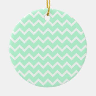 Mint Green Zigzag Chevron Stripes. Round Ceramic Decoration