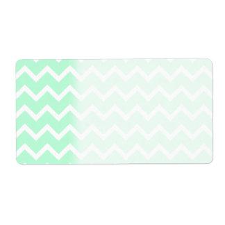Mint Green Zigzag Chevron Stripes. Shipping Label