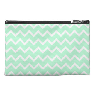 Mint Green Zigzag Chevron Stripes. Travel Accessory Bag