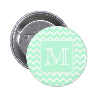 Mint Green Zigzag with Custom Monogram. 6 Cm Round Badge