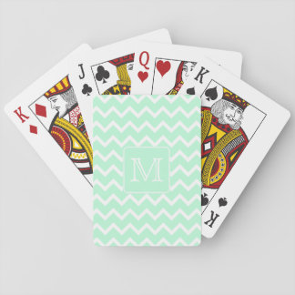 Mint Green Zigzag with Custom Monogram. Card Deck