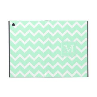 Mint Green Zigzag with Custom Monogram. iPad Mini Cover