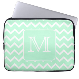 Mint Green Zigzag with Custom Monogram. Laptop Sleeve