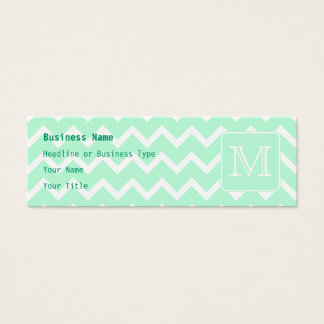 Mint Green Zigzag with Custom Monogram. Mini Business Card