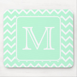 Mint Green Zigzag with Custom Monogram. Mouse Pad