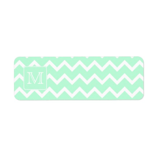 Mint Green Zigzag with Custom Monogram. Return Address Label