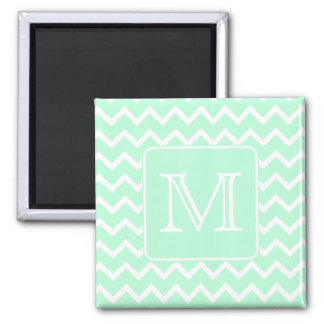Mint Green Zigzag with Custom Monogram. Square Magnet
