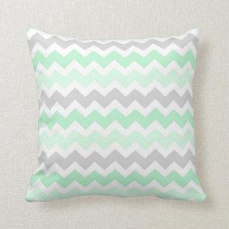 Mint Grey Chevron Decorative Pillow
