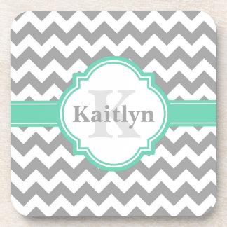 Mint Grey Chevron Pattern & Moroccan Quatrefoil Coaster