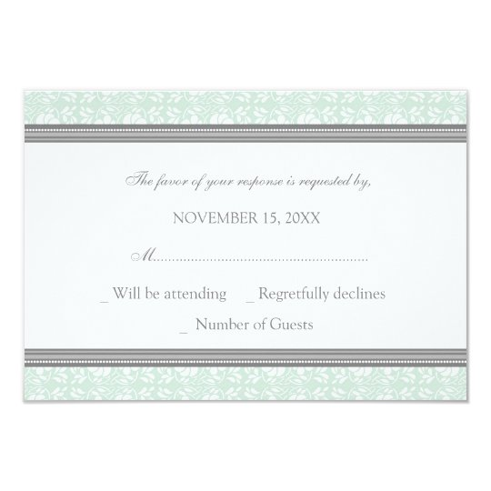 Mint Grey Damask RSVP Wedding Card