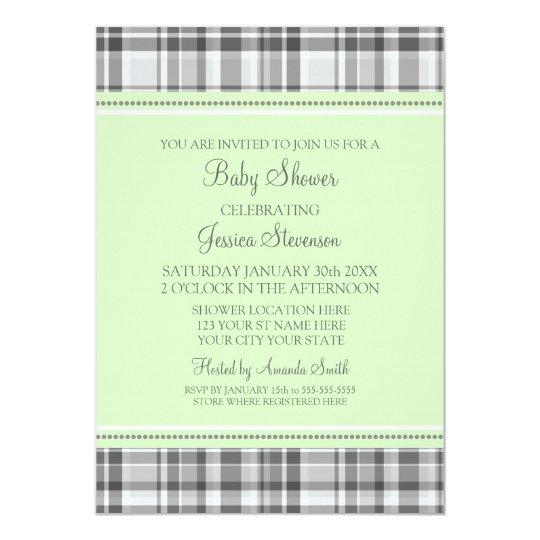 Mint Grey Plaid Custom Baby Shower Invitations