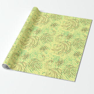 Mint halftones with butterfly and peacock pattern wrapping paper