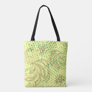 Mint halftones with butterfly pattern tote bag