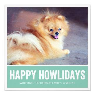 Mint Happy Howlidays - Pet Photo Holiday Cards