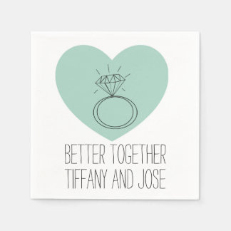 "Mint Heart ""Better Together"" Engagement Napkin Disposable Serviettes"