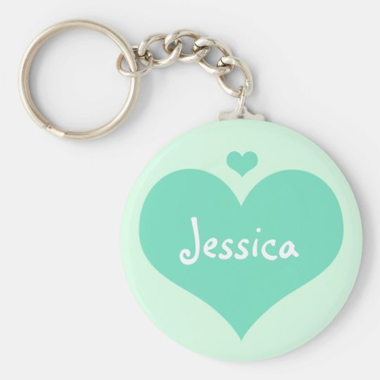 Mint Hearts Personalised Girly Name Keychain