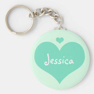 Mint Hearts Personalized Girly Name Keychain