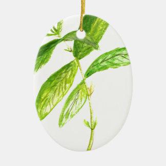 Mint herb Mint watercolour Mint print Ceramic Oval Decoration