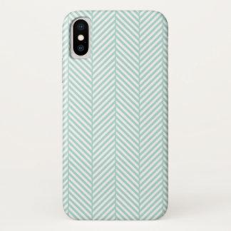 Mint Herringbone iPhone X Case