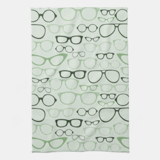 Mint Hipster Glasses Kitchen Towels