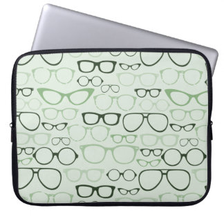 Mint Hipster Glasses Laptop Sleeve