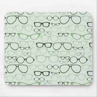Mint Hipster Glasses Mouse Pad