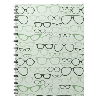 Mint Hipster Glasses Spiral Notebook