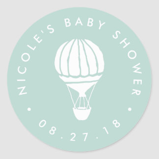 Mint Hot Air Balloon Baby Shower Classic Round Sticker