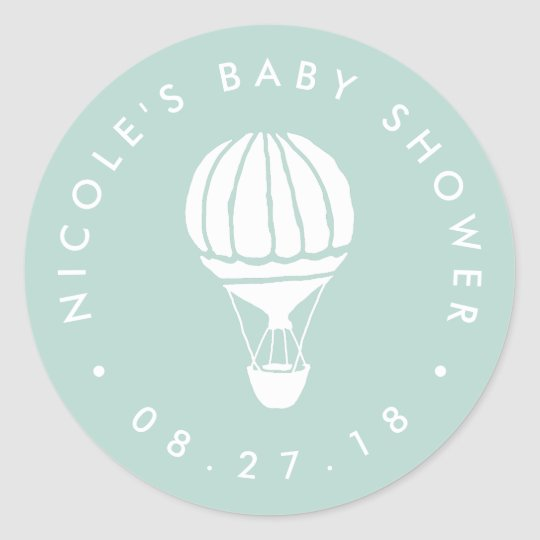 Mint Hot Air Balloon Baby Shower Classic Round