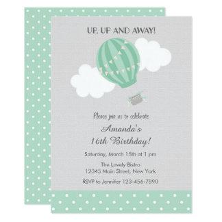 MInt Hot Air Balloon Birthday Invitation