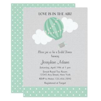Mint Hot Air Balloon Bridal Shower Invitation