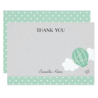 Mint Hot Air Balloon Thank You Card