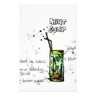 Mint Julep Cocktail Recipe Stationery