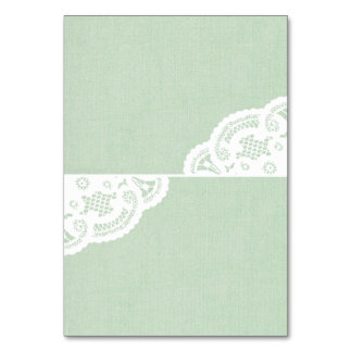 Mint Lace Doily Wedding Table Place Cards