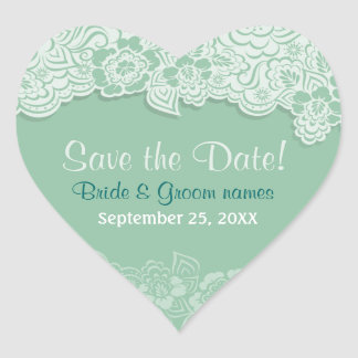 Mint Lace - Save the Date Heart Sticker