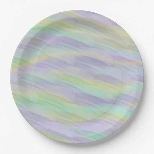 Mint Lilac Yellow Abstract 9 Inch Paper Plate