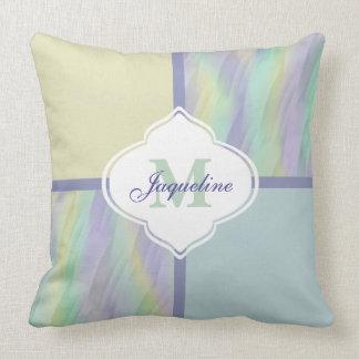Mint Lilac Yellow Monogram Colorblock Throw Pillow