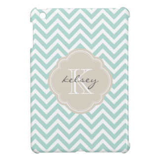Mint & Linen Beige Modern Chevron Custom Monogram Cover For The iPad Mini