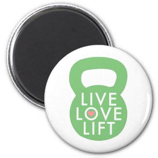 "Mint ""Live Love Lift"" 6 Cm Round Magnet"