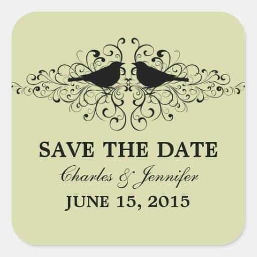 Mint Love Bird Swirls Save the Date Stickers