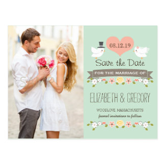 MINT LOVE BIRDS DOVE SAVE THE DATE POSTCARD
