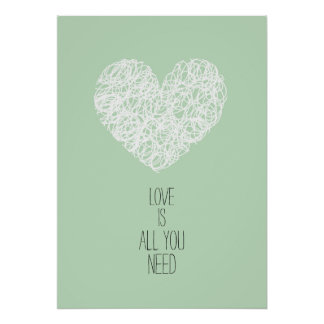 Mint Love Is All You Need Valentine's day Poster