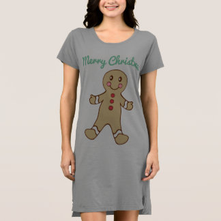 Mint Merry Christmas Gingerbread Cookie Nightgown Dress