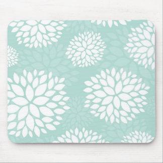 Mint Modern Flowers Mouse Mat