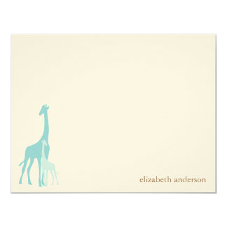 Mint Mom and Baby Giraffes Flat Thank You Cards 11 Cm X 14 Cm Invitation Card