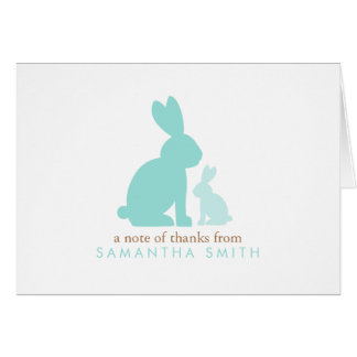Mint Mom and Baby Rabbits Thank You Notes Note Card