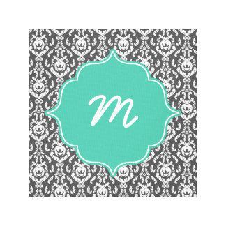 Mint Monogram Dark Grey Damask Canvas Print