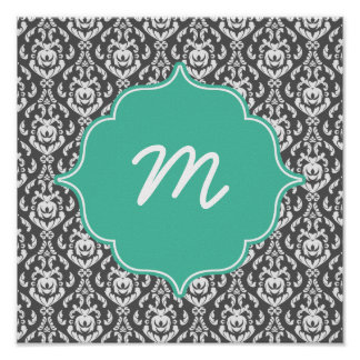 Mint Monogram Dark Grey Damask Poster