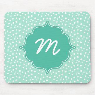 Mint Monogram Messy Dots Quatrefoil Mouse Pad