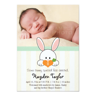 MINT MONOGRAMMED BUNNY BIRTH ANNOUNCEMENT